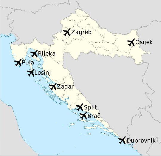 Предлагаем вашему вниманию схематическую карту с расположением всех аэропортов Хорватии