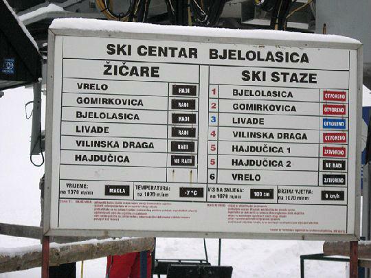 Информационное табло курорта с температурой воздуха и высотой снежного покрова