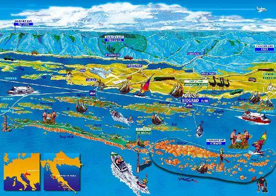 Художественная карта, иллюстрирующая расположение Национальных парков Хорватии
