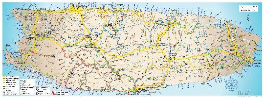 Карта о. Брач с отмеченными на ней дорогами, велосипедными тропами, достопримечательностями и городской инфраструктурой