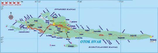 Географическая карта о. Хвар
