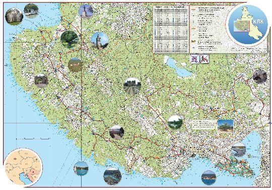 Детальная туристическая карта острова Крк с достопримечательностями