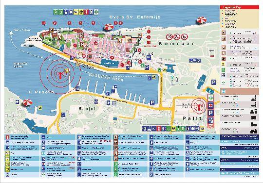 Большая подробная карта столицы острова Раб