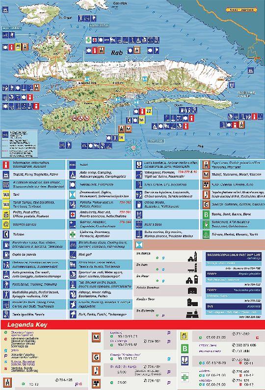 Туристическая карта о. Раб