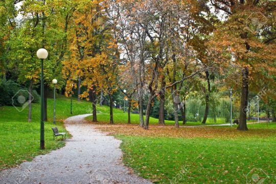 Один из парков Загреба в золотую осень